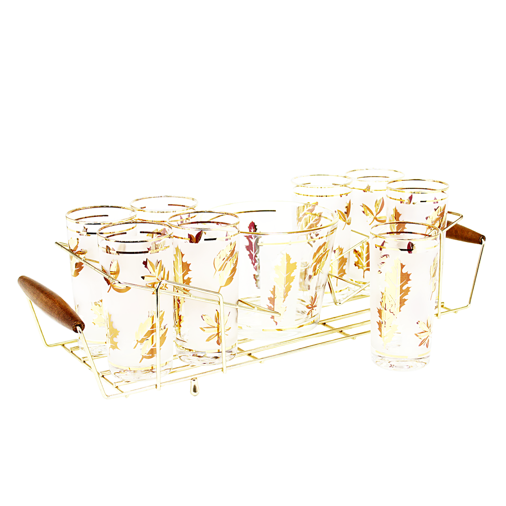 Collins Glasses & Ice Bucket Caddy Set, 22k Gold Leaf 'Starlyte'