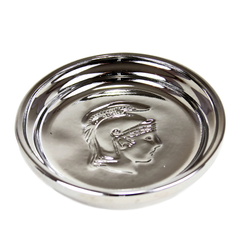 Mid Century Silver Glaze Coaster with impressed Trojan Soldier motif.