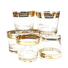 Limited Edition Acadian Distillers Whiskey Glasses, Gold Leaf, Set of 6