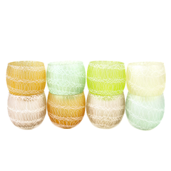Set of 8 Pastel Roly Poly Bar Glasses with Rubberized Insulator Coating.