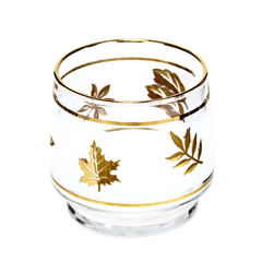 Vintage Dominion Glass Starlyte Whiskey Glass. Gold Leaves on White Frosted Background.