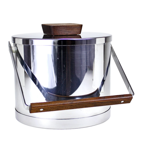 Mid Century Kromex Chrome Ice Bucket, Teak Knob and Handle