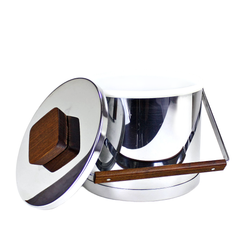 Insulated Chrome Ice Bucket by Kromex. Wooden Knob and Handle.