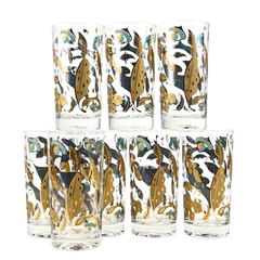 Fred Press Collins Glasses Caddy Set, Gold & Turquoise