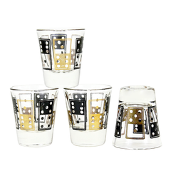 Set of 4 Vintage Shot Glasses. Black and Metallic Gold Domino Pattern.