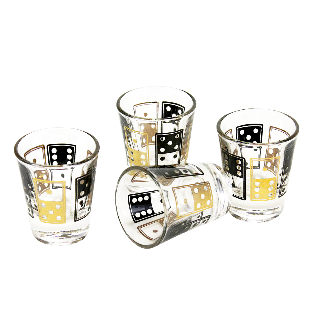 Mid Century Shot Glasses with Gold and Black Domino pattern.