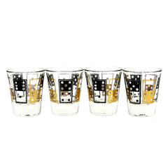Gold and Black Domino Patterned Mid Century Barware.