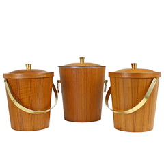 Teak Veneer Ice Buckets at Audrey Would! Vintage Home.