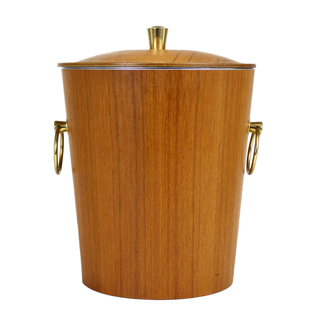 Teak Veneer Ice Bucket with Gold Coloured Ring Handles.