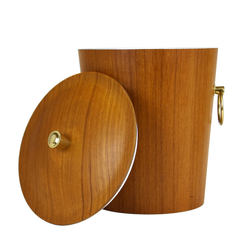 Teak Ice Bucket with Brass Ring Handles and Brass Knob.