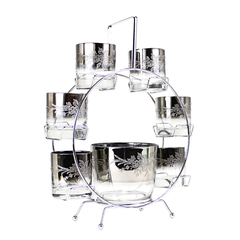 Mid-Century Ferris Wheel Cocktail Caddy, Rose Embossed Silver Ombre Ice Bucket, Rocks Glasses