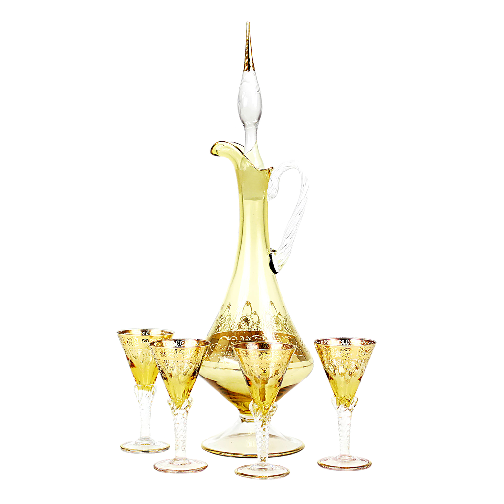 Vintage Decanter & Cordial Set, Gold Overlay, Jay Glass Italy, 1950s