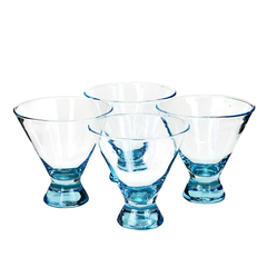 Hand blown vintage stemless turquoise martini glasses available at Audrey Would!