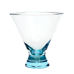 Vintage set of 4 stemless turquoise martini glasses available at Audrey Would!