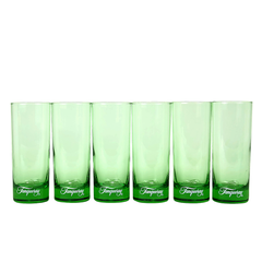 Set of 6 pristine vintage Tanqueray Gin glasses for your barware collection