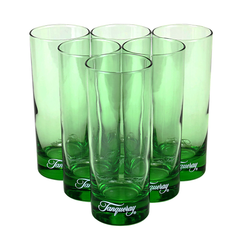 A classic collectible set of Tanqueray collins glasses in trademark emerald green featuring Tanqueray's vintage script logo.