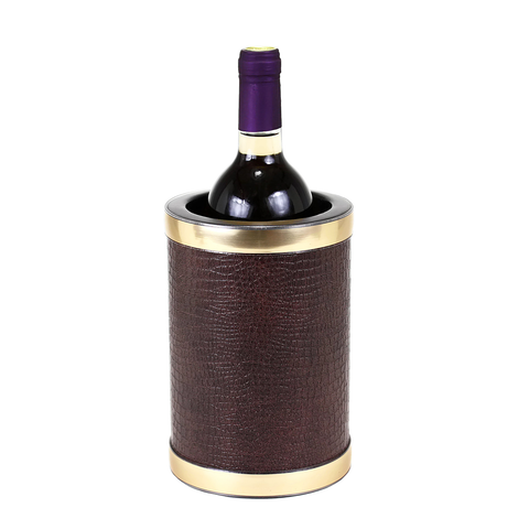 Vintage Wine Chiller, Brown Leatherette, Kraftware