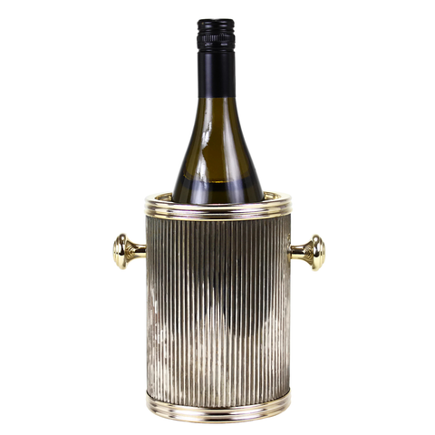 Vintage Glam Wine Chiller, Corrugated Metal Wrap, Brass Knobs