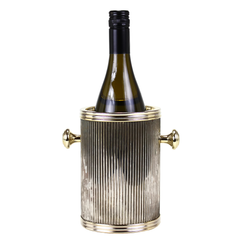 Vintage Wine Chiller Ice Bucket. Corrugated Gold Metal.
