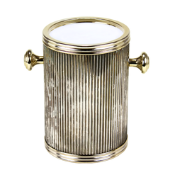 Insulated Wine Chiller Ice Bucket. Rippled Gold Metal and Knobs.