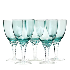 Stunning set of 5 vintage Italian art glass wine glasses featuring a deep turquoise bowl and clear twisted stem.