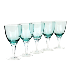 Mid-Century Set of Turquoise Italian Wine Glasses in Mint Condition