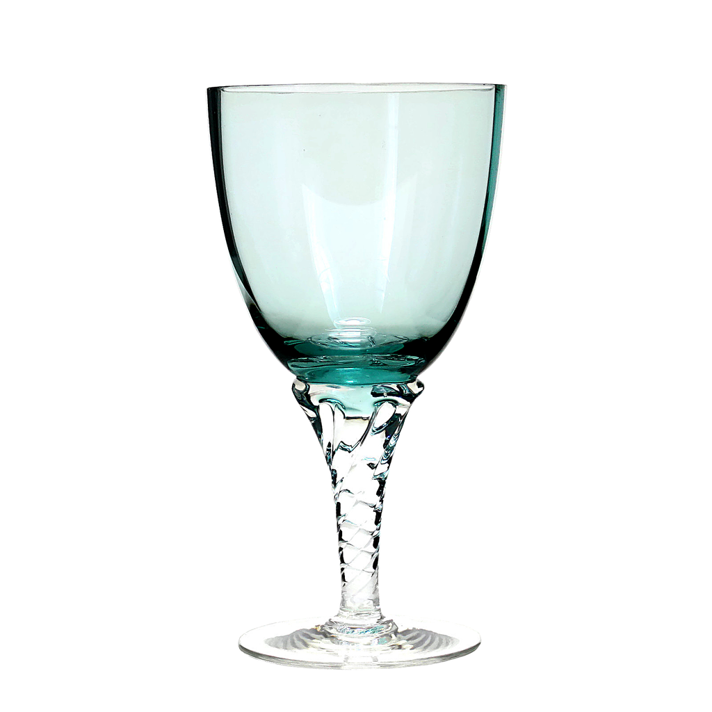 Mid-Century Turquoise Art Glass Wine Glasses from Italy