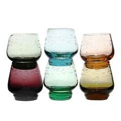 Multi-Coloured Depression Glass Shot Glasses, Stemless Cordials, Korea