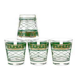Vintage set of rare mid-century Dominion Glass old fashioned whiskey glasses w. elaborate green cross-hatching & 22k gold fleur-de-lis design. Vintage barware.