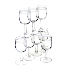 Set of 8 first class Canadian Airlines stemmed wine glasses.