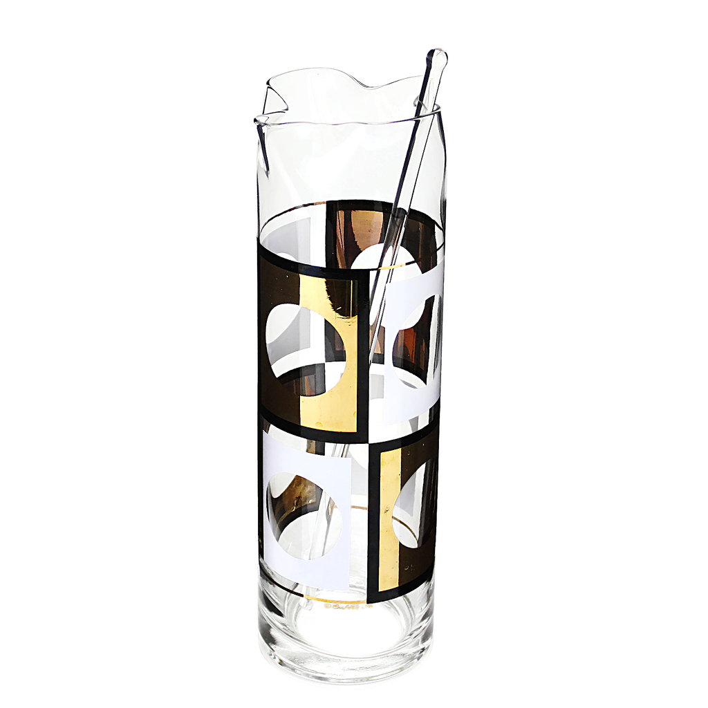 Mid modern barware. Cocktail pitcher signed by Culver. Embellished geometric pattern in black, white and 22k gold.