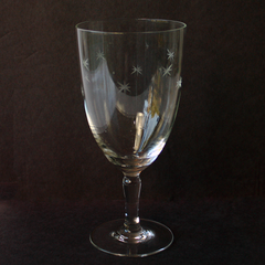 Etched Atomic Star Pattern. Vintage Wine Goblet.