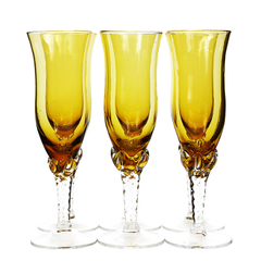 Mid century hand blown champagne flutes in pristine condition