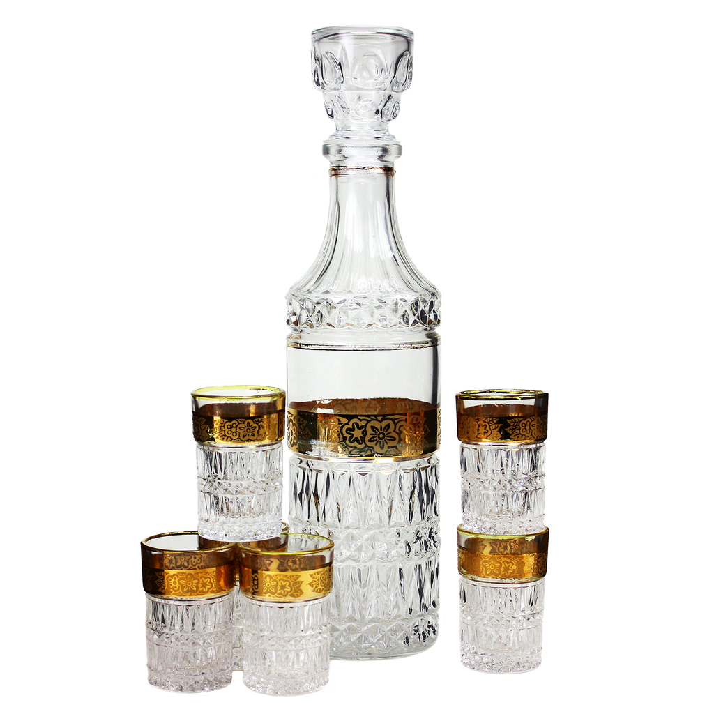 Vintage Pressed Glass Decanter Set, 6 Whiskey Shots, Stemless Cordial Glasses, Gold Bands