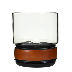 Smokey Rocks Glasses with Leatherette Cuffs and Brass Accents