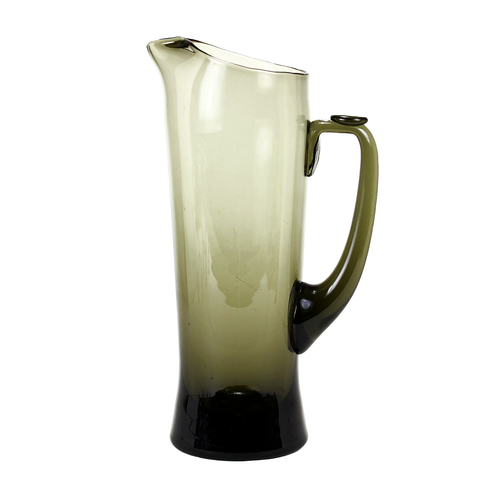 Smokey Mid Century Cocktail Pitcher, Hand Blown Glass, 1950s