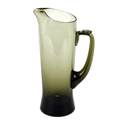 Brown Mid Century Cocktail Pitcher. Side Profile. Thumb Rest Button on Handle.