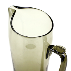 Mid Century Pinch Spout Cocktail Pitcher. Smokey Brown Glass. Top View.