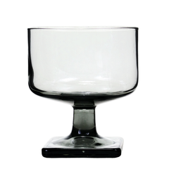 Mid century cocktail glass in smokey black, square base, from Audrey Would!