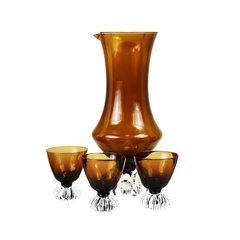 Bo Borgström Åseda Glass Pitcher & Cordials, Dark Amber Art Glass, Mid Century Barware