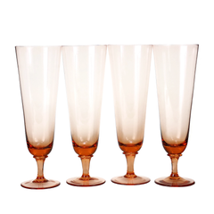Set of Four Dusty Pink Beer Glasses.