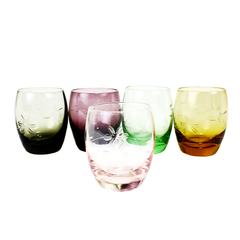 Set/5 Multi-Coloured Shot Glasses, Etched Depression Glass, Stemless Cordials