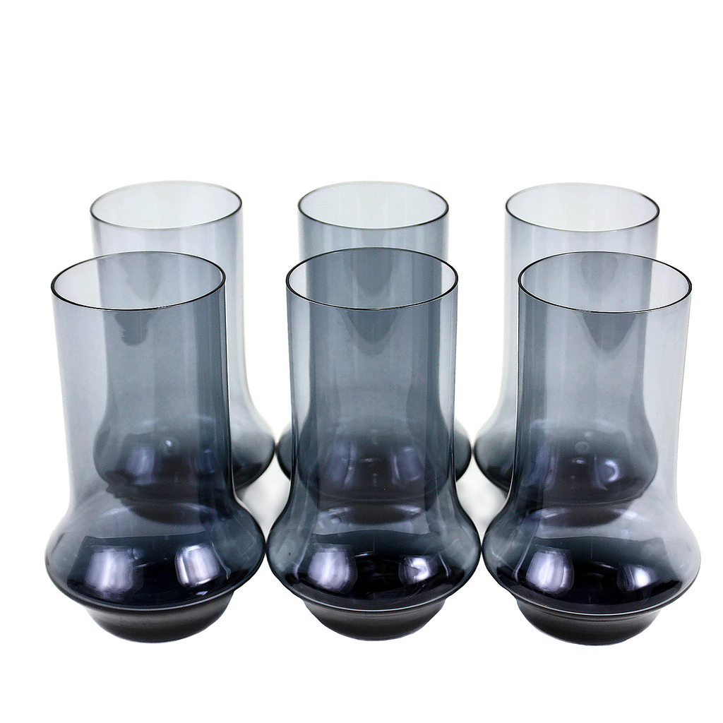 Smokey Blue Holmegaard Bar Glasses.