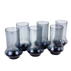 Set of Six Vintage Bar Glasses in Deep Navy Blue.