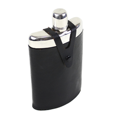 Hip Flask, Black Leather Case, Plastic Bottle Liner, Protective Chrome Upper