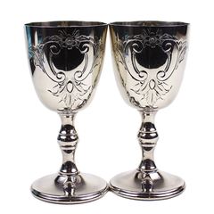 Burke & Wallace Silver Goblets, Etched Floral Pattern