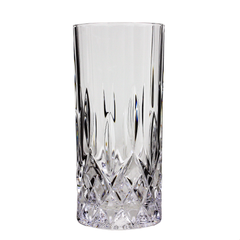 Set/4 Collins Glasses, Diamond Cut Bohemia Crystal, Weighted Base