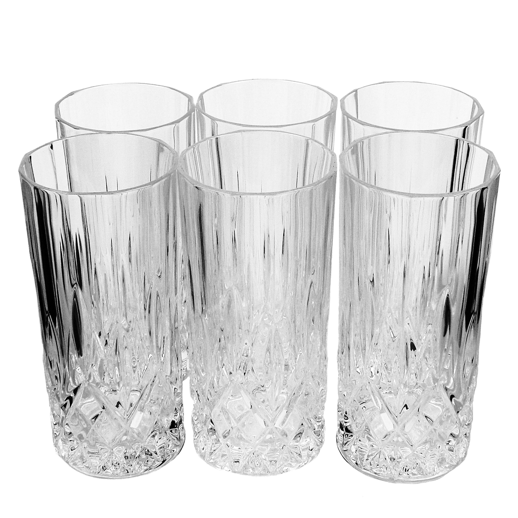 Set/6 Collins Glasses, Diamond Cut Bohemia Crystal, Weighted Base