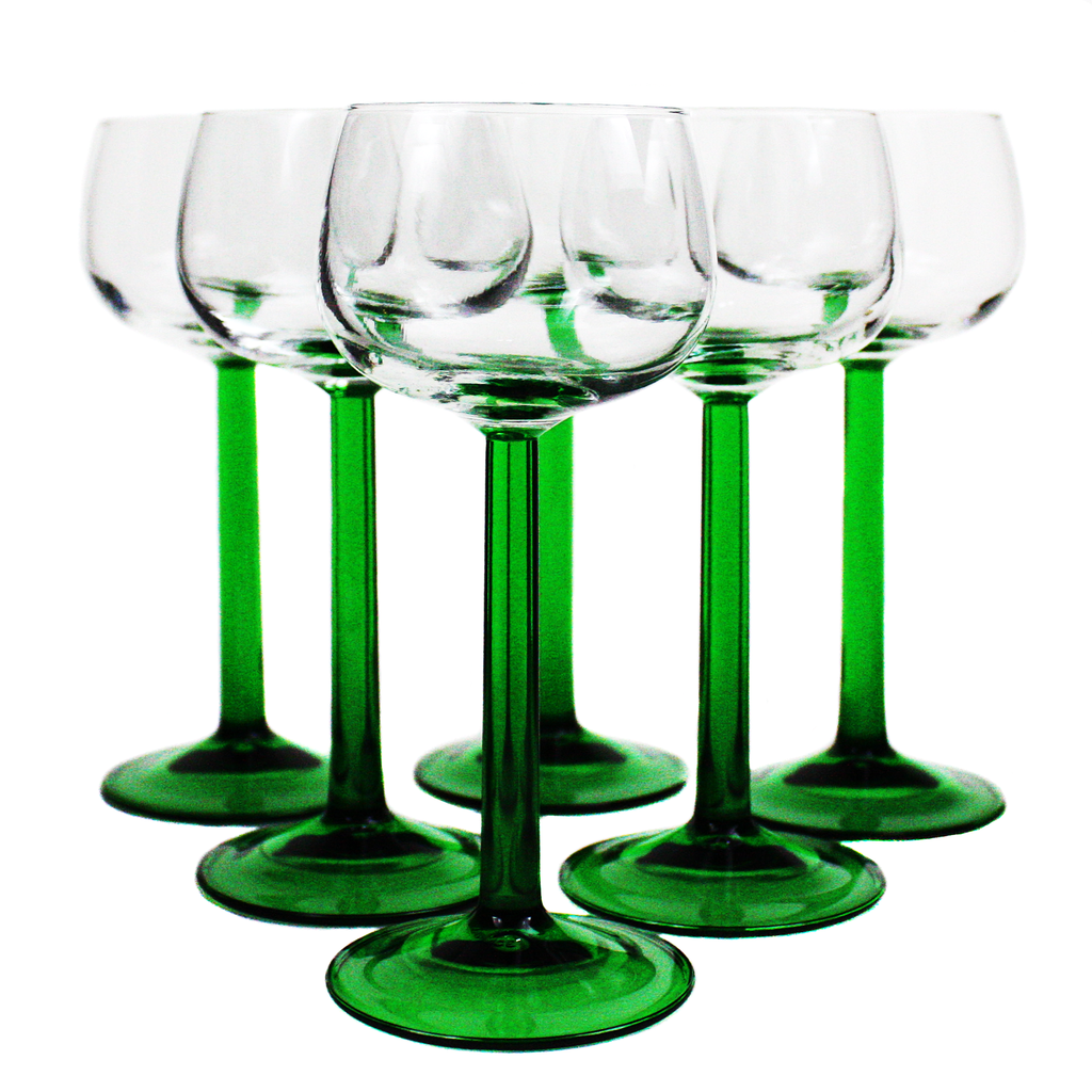 Set/6 Alsatian White Wine Glasses, Emerald Green Stems, Luminarc France