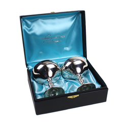 Champagne Coupes, Burke & Wallace Boxed Set, Silver Champagne Glasses